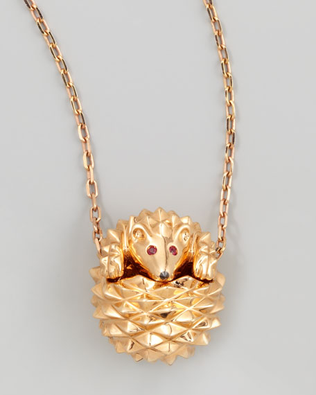 Boucheron 18k Pink Gold Herisson Hedgehog Pendant Necklace