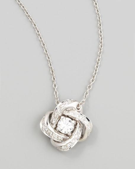 Ava 18k White Gold Diamond Pivoine Pendant Necklace, 0.36 TCW