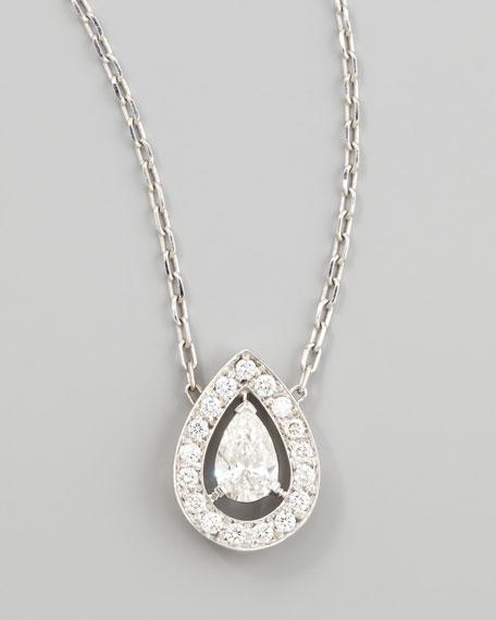 Ava 18k White Gold Pear Diamond Pendant Necklace, 0.74 TCW