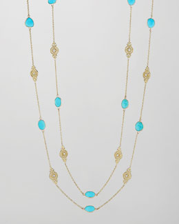 Penny Preville 18k Turquoise & Diamond Signature Scroll Chain Necklace, 34""