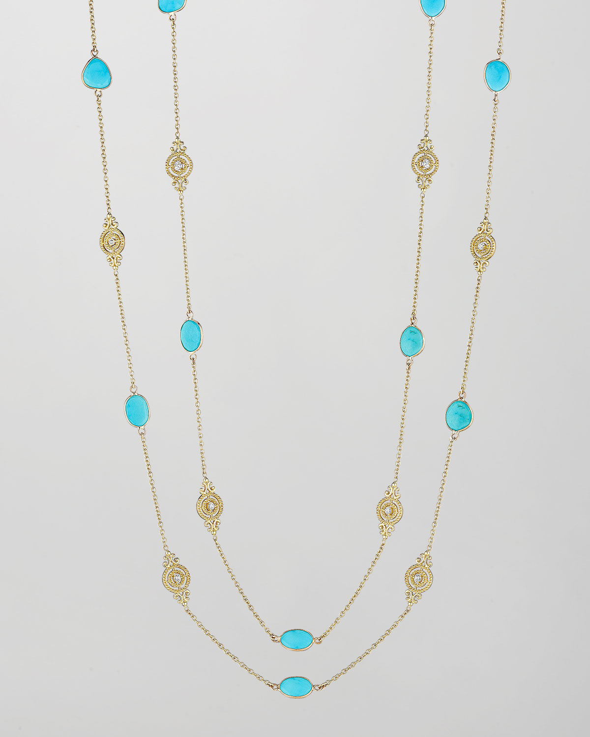 18k Turquoise & Diamond Signature Scroll Chain Necklace, 34""