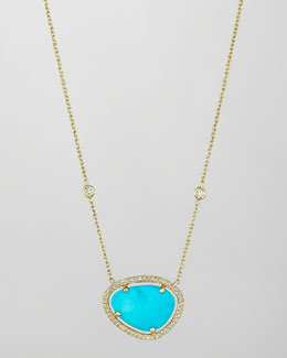 Penny Preville 18k Turquoise & Diamond Pendant Necklace, 16""