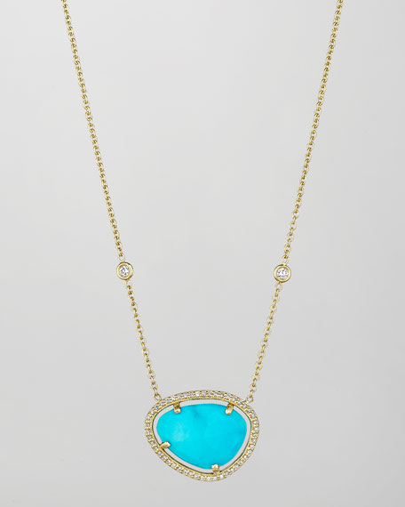 Penny Preville 18k Turquoise & Diamond Pendant Necklace,