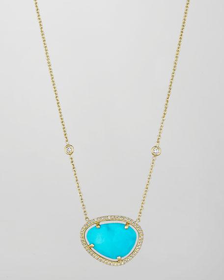 "18k Turquoise & Diamond Pendant Necklace, 16"""