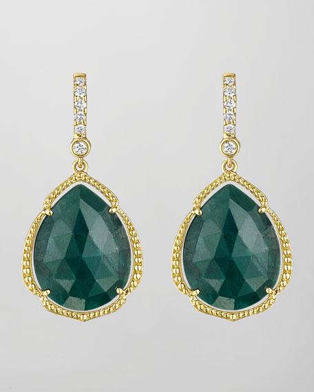18k Pear-Cut Emerald & Diamond Earrings