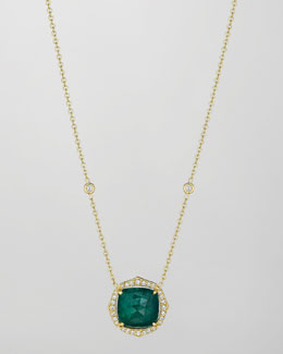 Penny Preville 18k Emerald & Diamond Pendant Necklace, 16""