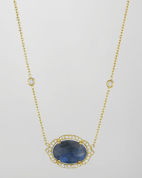 18k Labradorite & Diamond Pendant Necklace