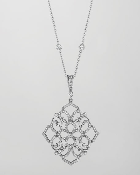 18k White Gold Diamond Lace Pendant Necklace
