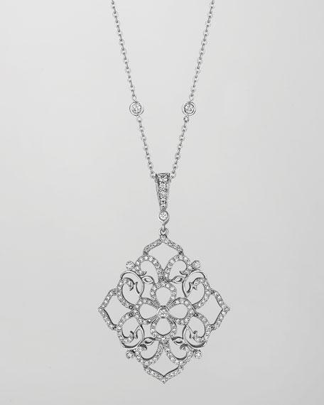18k White Gold Diamond Lace Pendant Necklace