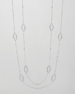 Penny Preville 18k White Gold Arabesque Diamond Station Necklace, 36""