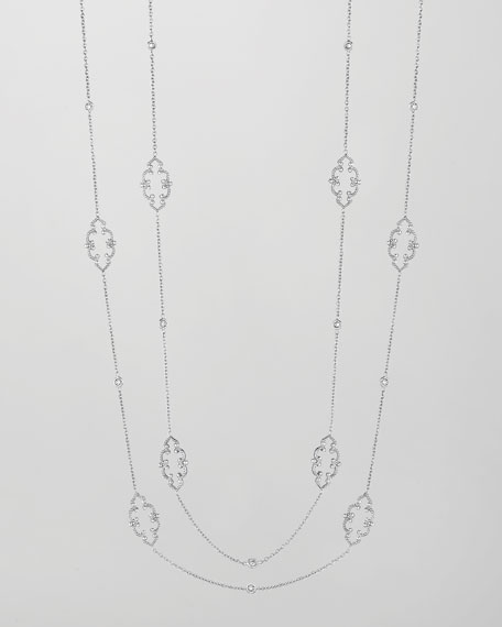 "18k White Gold Arabesque Diamond Station Necklace, 36"""
