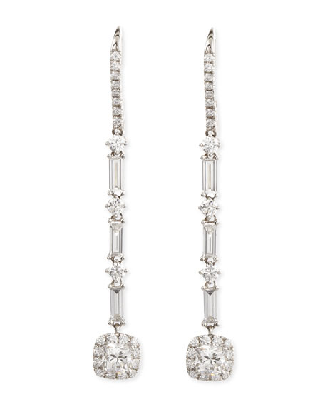 Deco 18k Gold Diamond Drop Earrings, 2.83 TCW