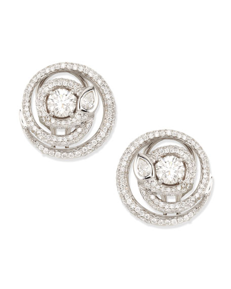 Maria Canale Diamond Serpent Stud Earrings, G/VS2, 2.21 TCW