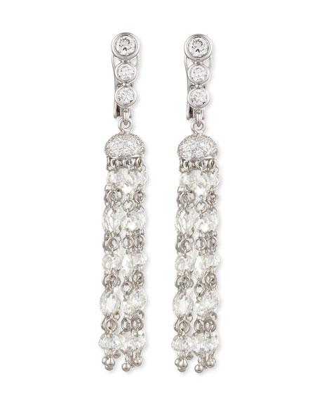 Swing Collection Rose-Cut Tassel Earrings, 5.81 TCW;  H/VS1-VS2