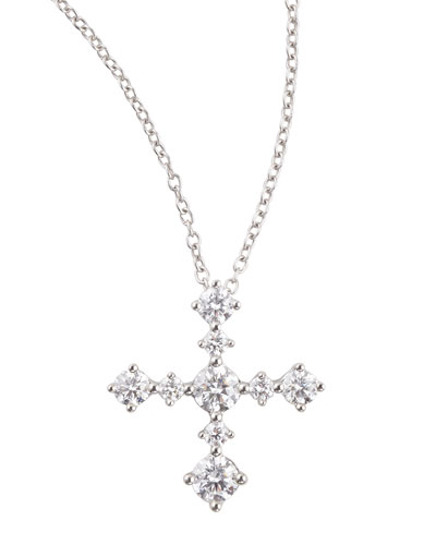 Anniversary Collection Diamond Cross Pendant Necklace, E/VS1, 0.62 TCW