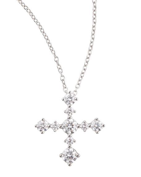 Anniversary Collection Diamond Cross Pendant Necklace, F/VS1, 0.64 TCW