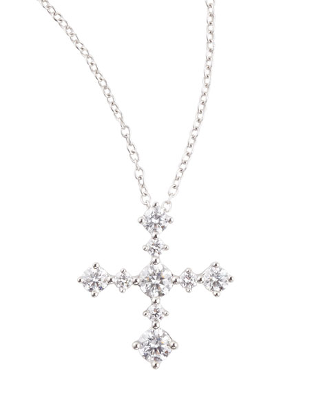 Center of My Universe Diamond Cross Pendant Necklace, F/SI1, 0.63 TCW