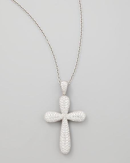 Nm diamond 18k white gold large pave diamond cross pendant nm diamond 18k white gold large pave diamond cross pendant necklace 481ct mozeypictures Choice Image