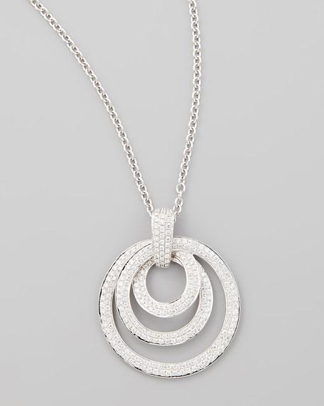 18k White Gold Diamond Triple Hoop Pendant Necklace