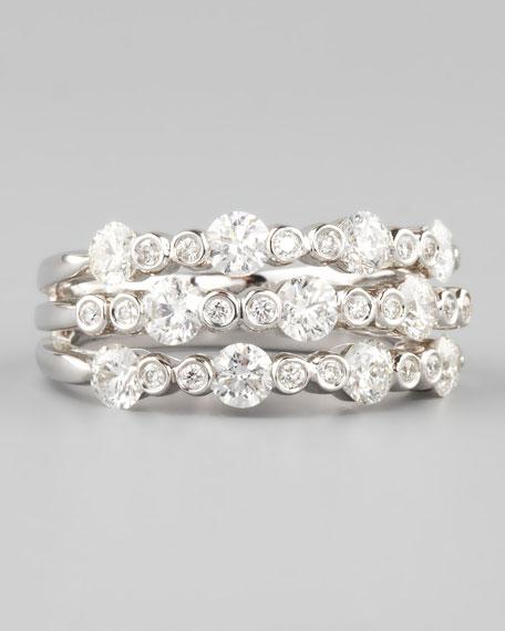 18k White Gold Diamond Three-in-One Band Ring