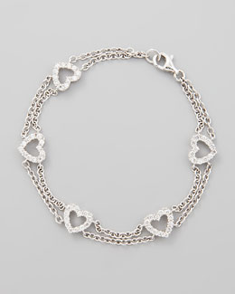 NM Diamond 18k White Gold Diamond Heart Link Bracelet, 1.0ctw