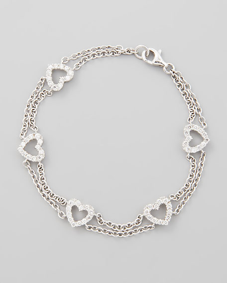 18k White Gold Diamond Heart Link Bracelet, 1.0ctw