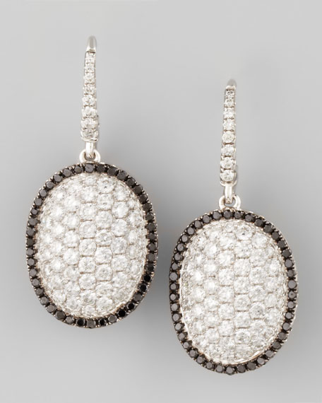 18k White Gold Black/White Diamond Oval Dome Drop Earrings