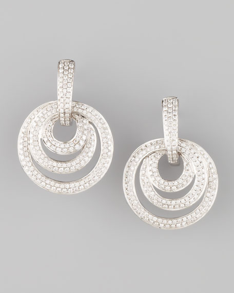 18k White Gold Drop Earrings with 3 Diamond Loops
