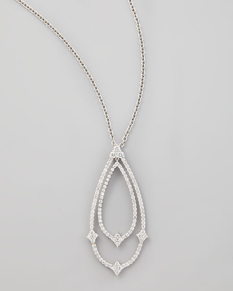 18k White Gold Double Teardrop Diamond Pendant Necklace