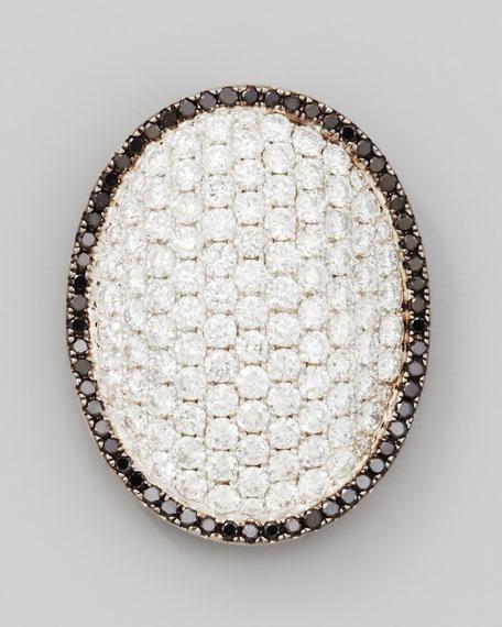 18k White Gold Black/White Diamond Oval Dome Pendant