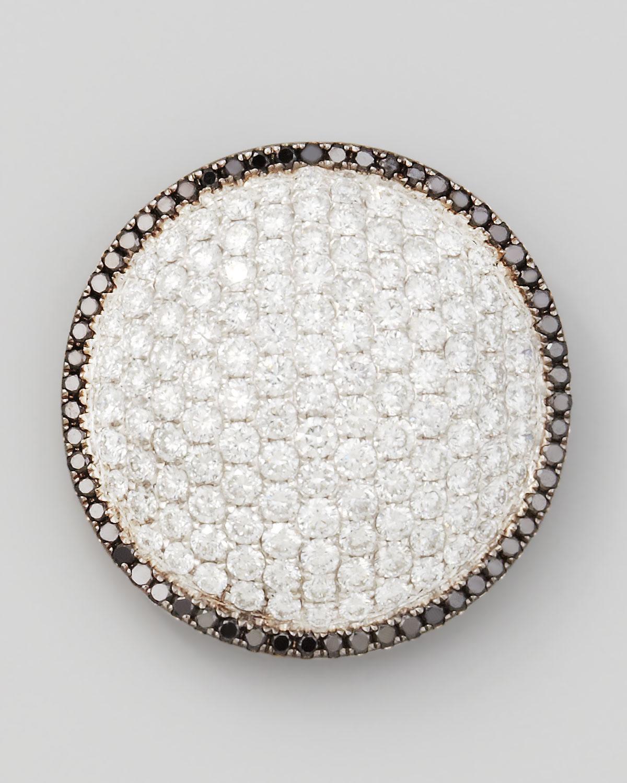 18k White Gold Black/White Diamond Round Dome Pendant