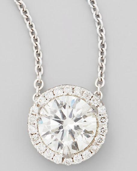 NM Diamond 18k White Gold Diamond Solitaire Pendant