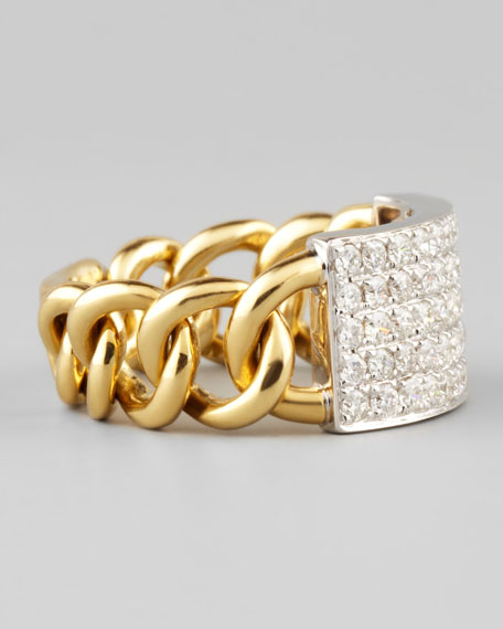 18k Yellow/White Gold Diamond Chain Link Ring, Size 6.5