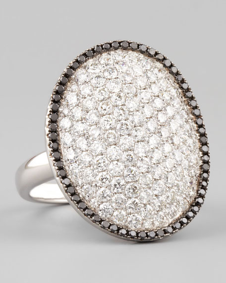 18k White Gold White and Black Diamond Oval Dome Ring