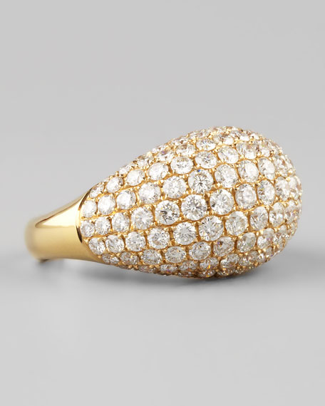 18k Yellow Gold Large Pave Diamond Dome Ring, Size 6.5