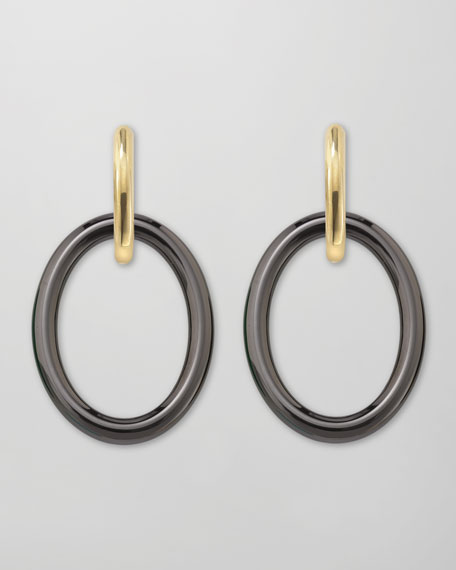 Top Mama 18k Gold Black Ceramic Earrings