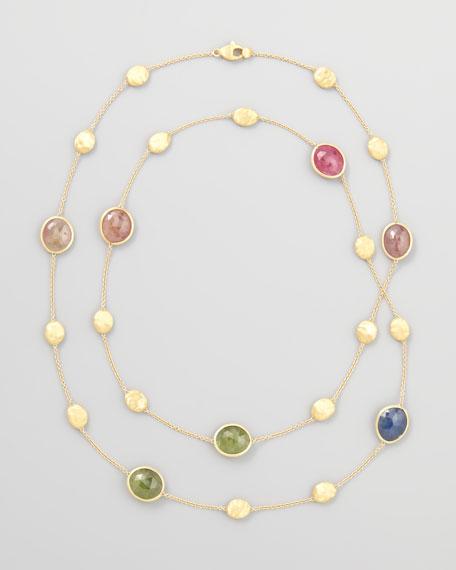 """Siviglia 18K Gold Multicolor Sapphire Necklace, 36""""L"""