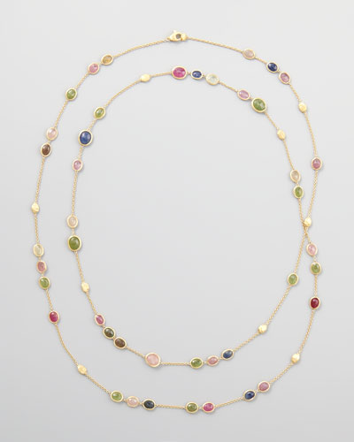 "Siviglia 18k Multicolor Sapphire Station Necklace, 47""L"