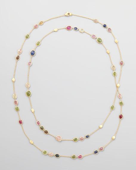 """Siviglia 18k Multicolor Sapphire Station Necklace, 47""""L"""