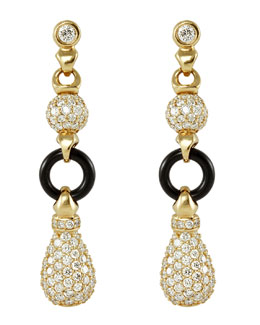 Lagos 18k Diamond & Black Agate Earrings