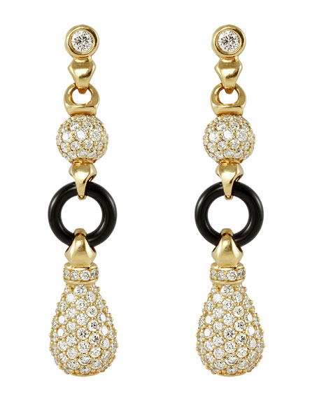 18k Diamond & Black Agate Earrings