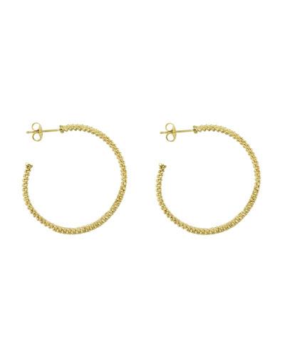 Lagos 18k Gold Caviar Beaded Hoop Earrings, 35mm