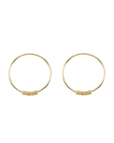 18k Caviar-Closure Hoop Earrings, 20mm