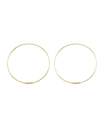 18k Caviar-Closure Hoop Earrings, 50mm