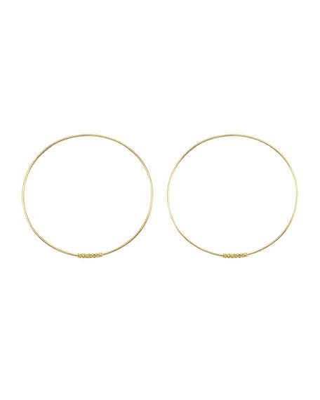 18k Caviar-Closure Hoop Earrings, 50mm