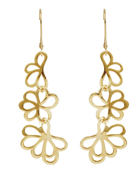 18k Gold Petal Drop Earrings