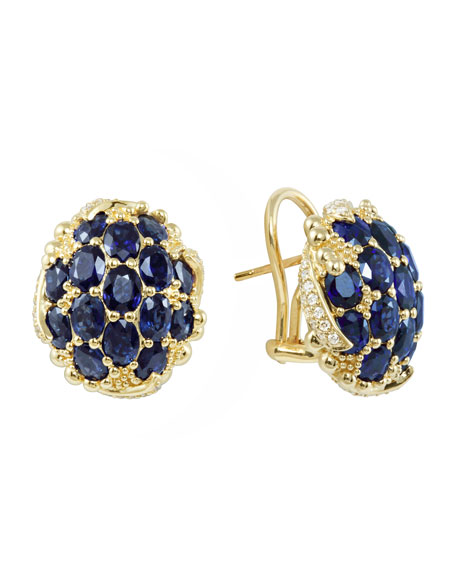18k Pave Oval Sapphire & Diamond Earrings