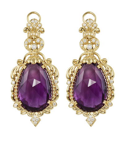 Lagos 18k Baroque Amethyst & Diamond Drop Earrings