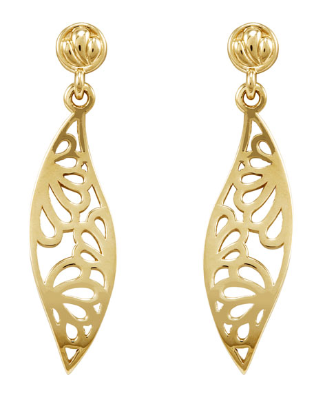 18k Marquise Drop Petal Earrings