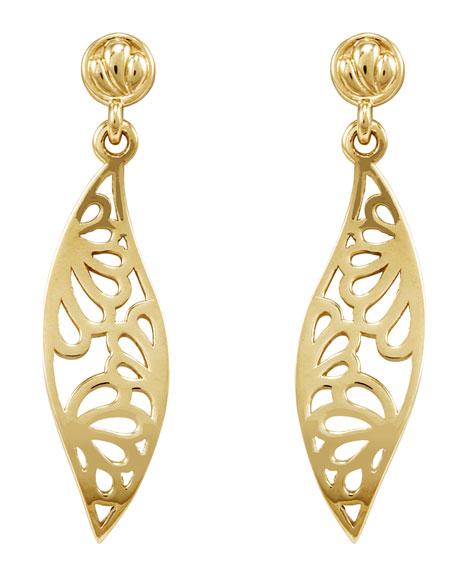 18k Marquise Drop Petal Earrings